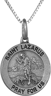 Sterling Silver St Lazarus Medal Necklace 3/4 inch Round Antiqued Finish Italy 0.8mm Chain