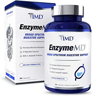 1MD EnzymeMD - Digestive Enzymes Supplement - Doctor Formulated | 18 Plant-Based Enzymes - Gas & Bloating Support | 60 Capsules