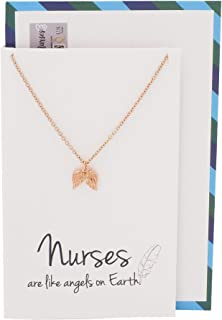 Quan Jewelry Nurse Gifts for Women Angel Wings Pendant Necklace, Perfect Graduation Gifts for Her with Greeting Card, Rose Gold-Tone