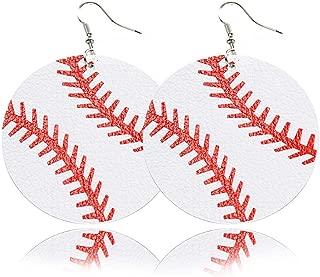 Leaf Leather Earrings Faux Leather Teardrop Sports Baseball Basketball Volleyball Earrings