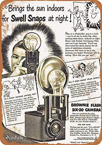1949 Kodak Brownie Flash Seis-20 Cámara Vintage Metal Signos Decoración de pared 20 x 30 cm