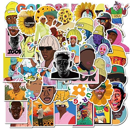 Pop Rap Singer Tyler The Creator Stickers Pack,Tyler Gregory Okonma Superstar Stickers for Teens and Adults,Vinyl Decals… |