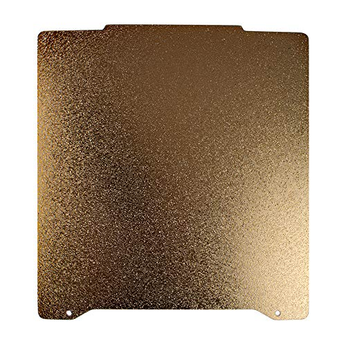 BCZAMD Prusa Mini Upgrade Parts Spring Steel Sheet Double Sided Textured PEI Powder Coated Construction Board for Prusa Mini Headbed Surface, 196.3 x 190 mm Gold 7.7 x 7.4 Inches