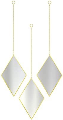 """CoolXuan Diamond Decorative Mirror Set of 3 for Wall Gold Geometry Mirror with Chain Wall Mounted for Minimalist Home Decor (Rhombus, 3PC,Golden, 5.9"""" x 9.84"""")"""