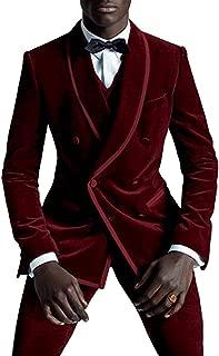 Men's Suit Slim Fit 3 Piece Velvet Wedding Suits Double Breasted Groom Tuxedos(Blazer+Vest+Pant)