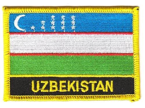 FLAGGENMAE Aufnäher Patch Usbekistan Schrift Fahne Flagge