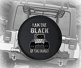 Illustrated 4x4 Off Road Car I Am The Black Sheep of The Family in Diamond Plate Steel Spare Tire Cover Camper RV Accessor...