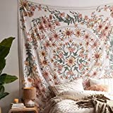 SROOD Tapiz bohemio beige para colgar en la pared, diseño de mandala floral medallón hippie con corona estética blanca, manta de decoración de pared azul marino para dormitorio o hogar, 150 x 170 cm
