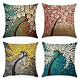Fossrn Fundas de Cojines 45x45 4PC Vintage Floral Hojas Árboles Funda de almohada para Sofa Jardin Cama Decorativo (01)