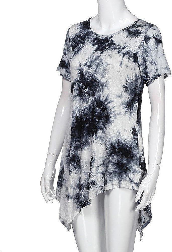 ESAILQ Frauen Verband hohe Taille Kurzarm Lace Floral Patchwork unregelmäßigen Minikleid Weiß-z