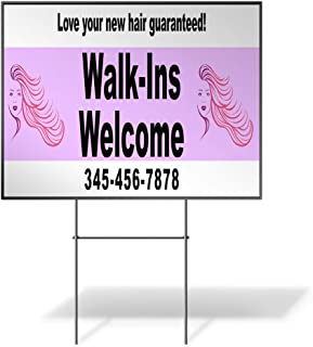 Custom Personalized Yard Sign Walk-ins Welcome Phone Number Purple Pink One Side Print 18inx12in