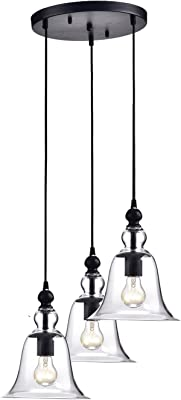 Edvivi 3-Light Antique Black Multi Lights Pendant Ceiling Fixture with Clear Glass Bell Shades | Traditional Lighting