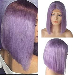 Lace Front Wig Human Hair Lilac/Purple Colored Short Bob Lace Wigs Pre Plucked with Baby Hair Thick 150% Density Half Hand Tied Lace Frontal Wigs 12 Inch