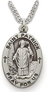 True Faith Jewelry Sterling Silver Oval Saint Patrick Patron of Irishmen Medal, 7/8 Inch