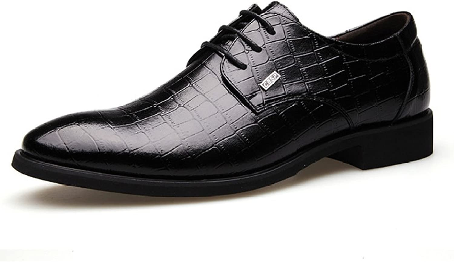 HGDR Men's Leather shoes Crocodile Pattern Pointed Toe Lace-up shoes Business Dress Wedding Formal shoes