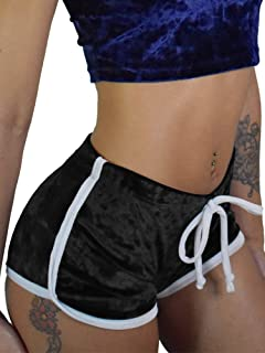 TOB Women's Sexy Drawstring Velvet Outfits High Waist Club Mini Shorts
