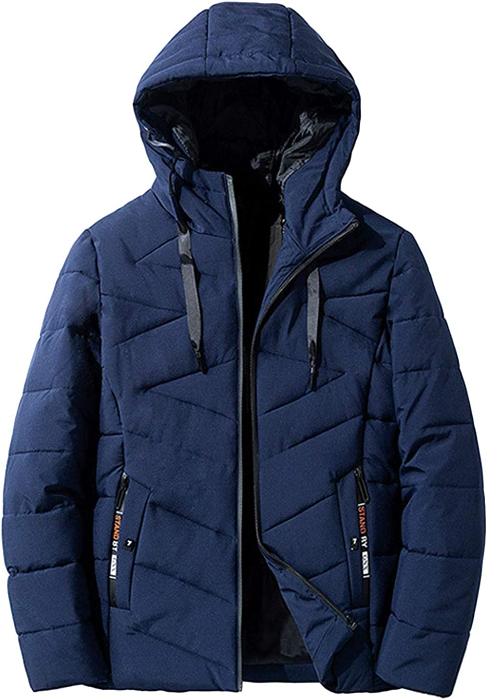 HaoMay Men's Winter Coat Hooded Cotton-Padded Quilted Puffer Jacket