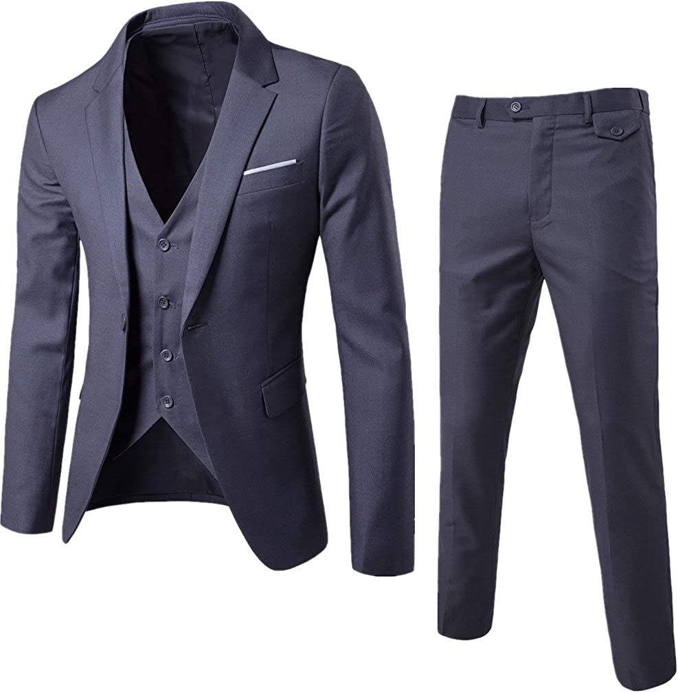 S&S Men's Suits 3 Piece Slim Fit Notch-lapel One Button Blazer Jacket Pants Vest