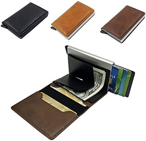 popular Auto Credit Card Holder, wholesale RFID Block Anti-Theft Leather new arrival Finish Wallet, 1-Click Card Popup Case outlet sale