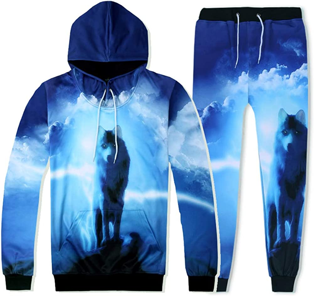 Honeystore 3D Print Tracksuit お洒落 Sweatpants Pullovers Sweatshirts J WEB限定