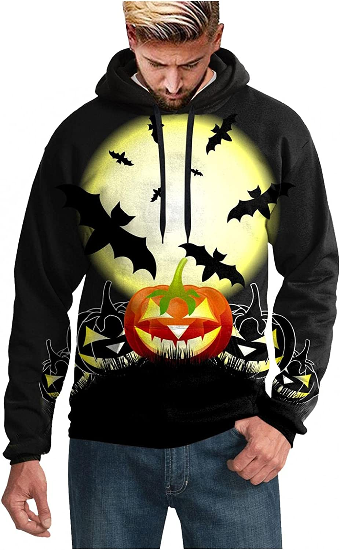 Aayomet Hoodies for Men Bat Pattern Pullover Halloween Hoodies Winter Long Sleeve Kanga Pocket Unisex Sweatshirts