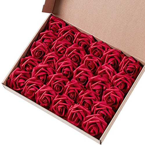 Marry agendo artificiale fiore rosa, 30Pcs Real touch rose artificiali per bouquet DIY wedding party Baby Shower Home Decor, Dark Red, Rose head approx. 3-4 inches