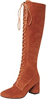 Fashion Womens Snow Boot,Women Autumn Snow Winter Martin Casual Comfortable Vintage Breathable Warm Waterproof Ankle Leather Straps Slim Lace Up High Over The Knee (Color : Yellow, Size : 5.5 UK)