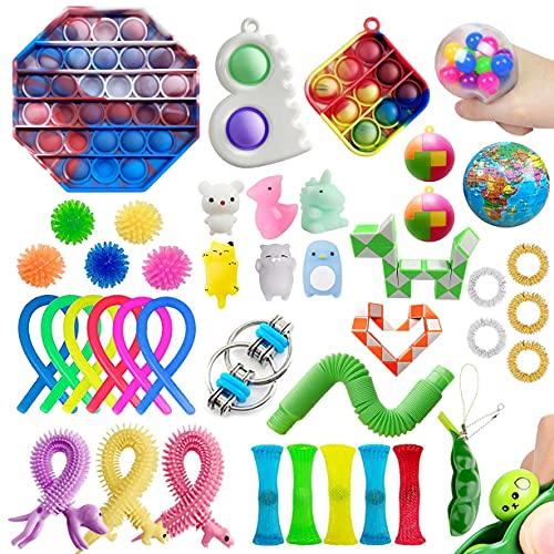 Cherislpy 42 Stück sensorisches Fidget-Spielzeug, einfaches Mini-Pop-Grübchen, sensorisches Spielzeug für Kinder und Erwachsene, Autismus, spezielle Stressabbau und Anti-Angst-Spielzeuge, Sortiment, Party-Gefälligkeiten