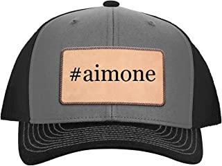 One Legging it Around #Aimone - Leather Hashtag Light Brown Patch Engraved Trucker Hat