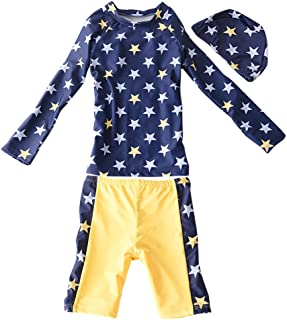Zhuhaitf 子どもの夏日焼け水着 Beach Kids Baby ボーイズ Long sleeve Sun protection Swim Tops+Shorts+Hats Swimsuit,Cute Star Pattern