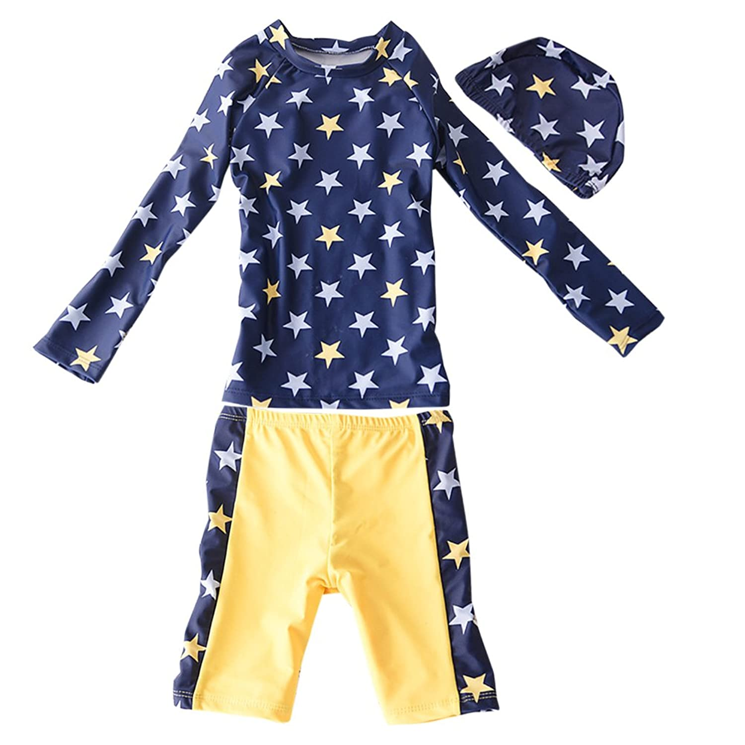 Zhhlaixing Baby Boys Cute Star Pattern Beach Sun protection Swimsuit 児童 Long sleeve Swim Tops+Shorts+Hats