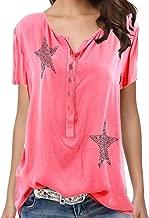 T-Shirts for Women,Adelibe Women's T-Shirt Shirt Fashion Star Pattern Print Button Short Sleeve Shirt Top