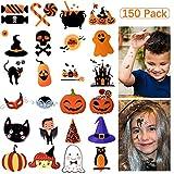 Temporary Tattoos Kids, 150 Assorted Halloween Tattoo Waterproof Cute Designs Stick on Children Tattoos, Pumpkin Tattoos Stickers for Kids Children Party Favors,150Patterns