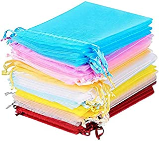 50 Pieces Multicolored Party Favor Bags Organza Gift Bags 10 Colors (4.3 x 3.15 Inch)