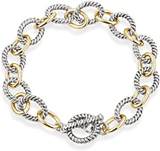 2-tone Circles Chain Bracelet Silver and Gold Cable Wire Bangle Bracelets for Women
