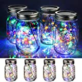 WERTIOO 4 Pack Solar Mason Jars Lights,30 LEDs Hanging Solar Lanterns Garden Decor Outdoor Lights Warm White Table Decor Fairy Lights for Patio Wedding Christmas Party (4 Pack Colorful)