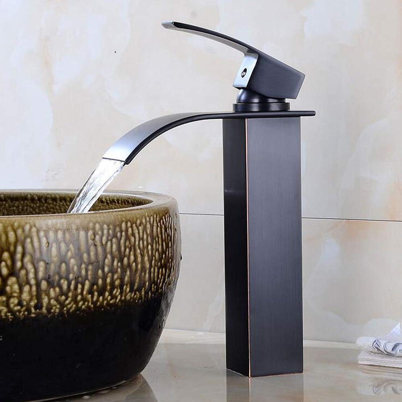Muzi-Faucet Schwarz Wasserfall Waschtischmischer Badewanne Wasserhahn Einhebelmischer Wasserhahn Waschbecken Wasserhahn, Küchenspüle Wasserhahn, Hotel, Küche, Bad Dekoration Wasserhahn,schwarz