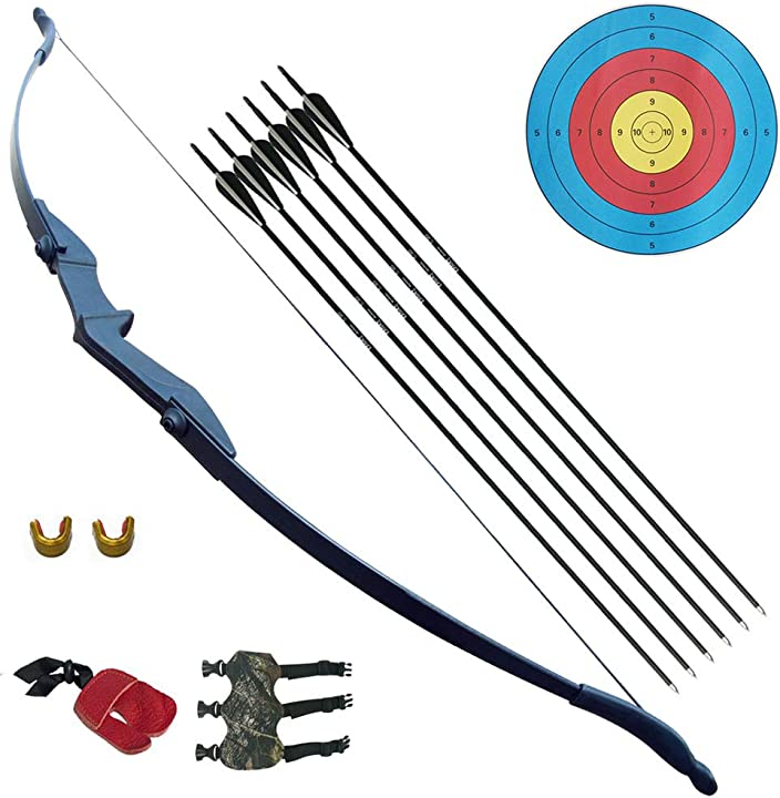 Tiro con l`arco arco ricurvo e set di frecce per adulti giovani principianti all`aperto 30 40lbskit con frecce B07XFDLYW8