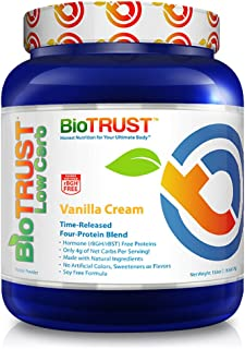 BioTrust Low Carb Natural and Delicious Protein Powder Whey & Casein Blend from Grass-Fed Hormone Free Cows | Non GMO, Soy Free, Gluten Free, Hormone & Antibiotic Free | Vanilla Cream Protein