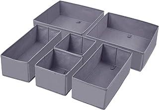 Homyfort Lot de 6 boîtes de rangement pliables en tissu avec tiroirs pour sous-vêtements, soutien-gorge, chaussettes, crav...