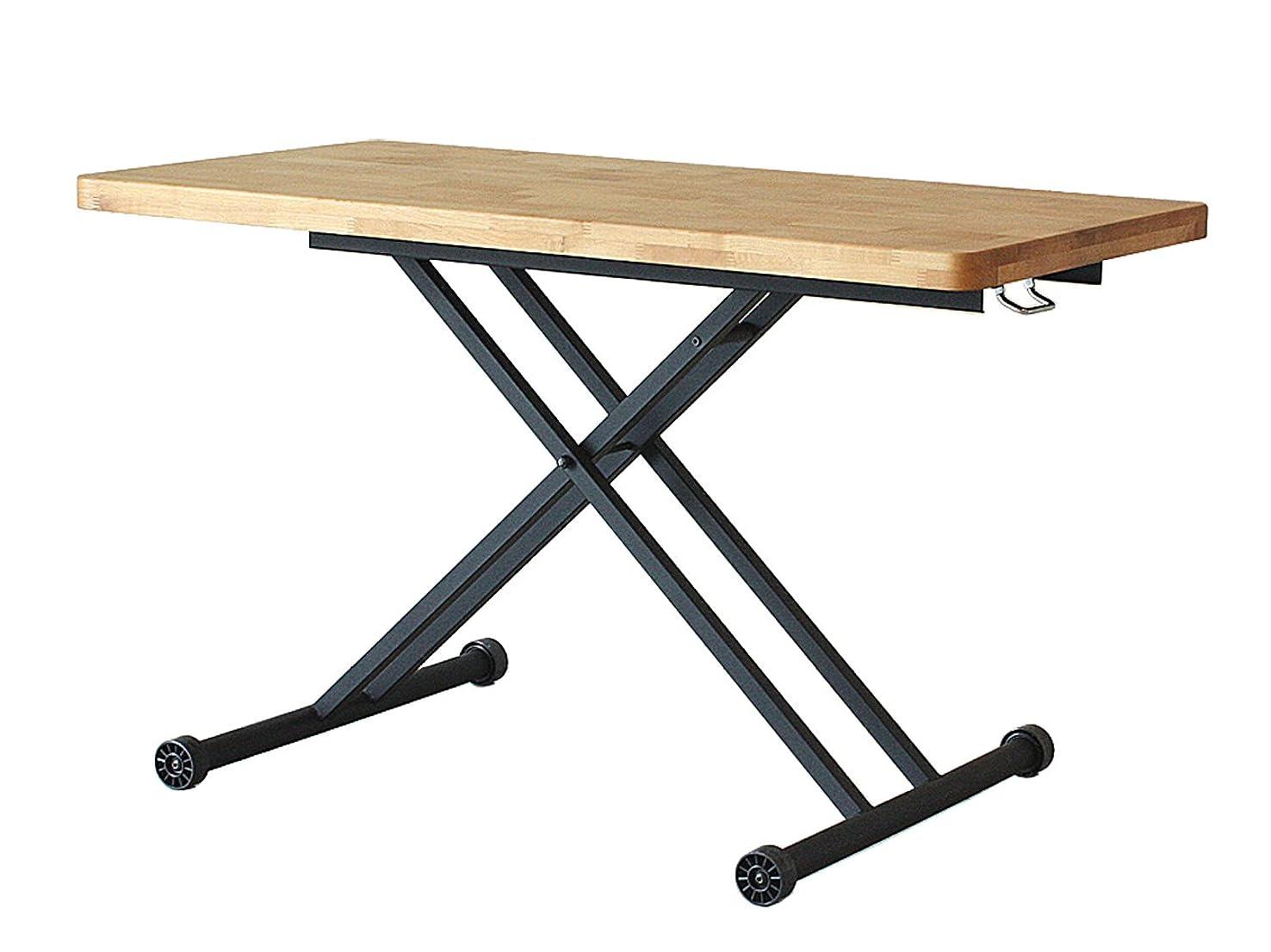 バンカー教えてブリード大川家具 東馬 昇降テーブル アルダー ライトブラウン 179595