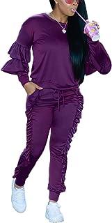 Akmipoem Women`s Two Piece Outfits Ruffle Sleeve Sweatshirt and Long Pants Tracksuit