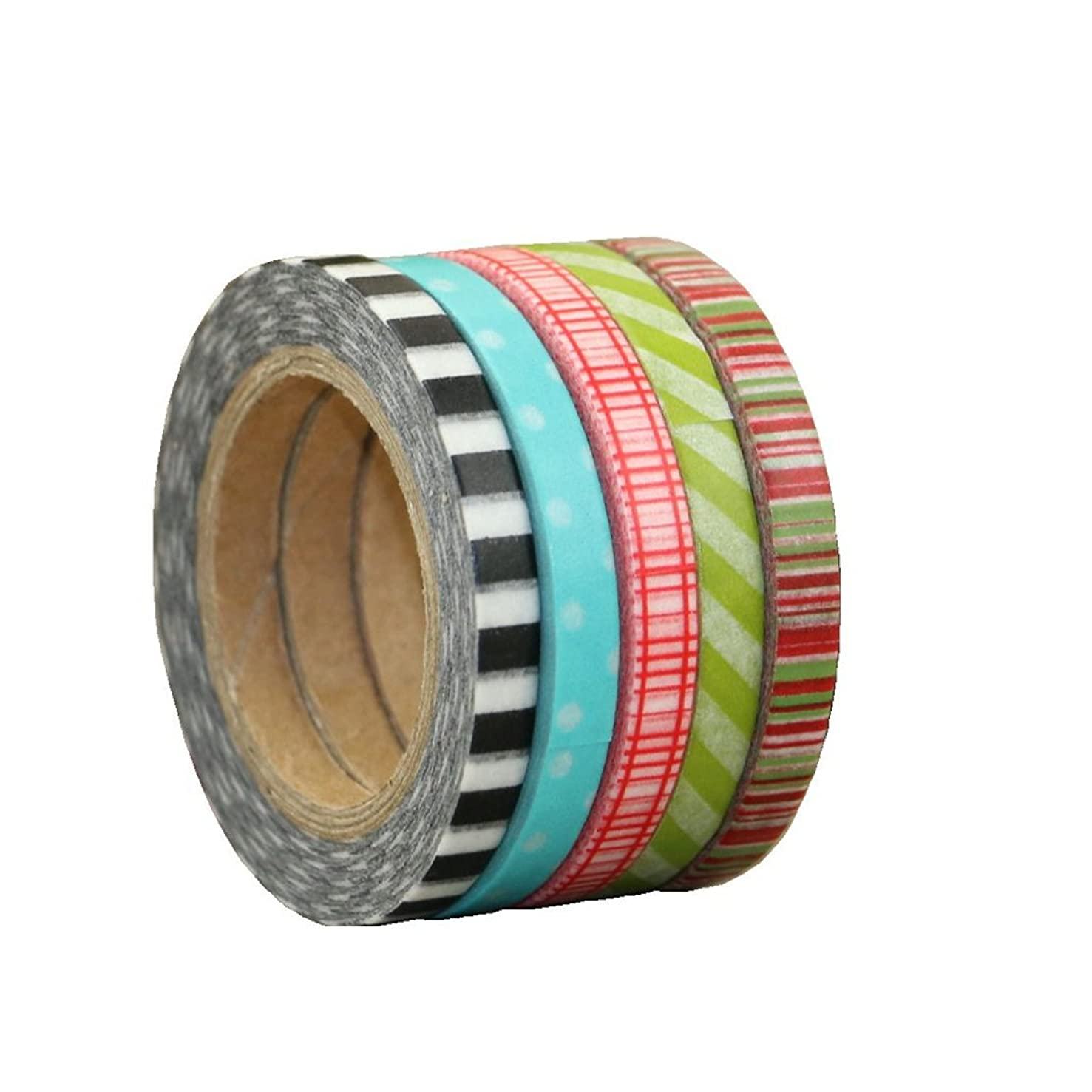 Washi Masking tape set of 5 rolls,5MM X 10M Decorative Masking Tape Collection,Tape for DIY Crafts and Gift Wrapping Office Party Supplies