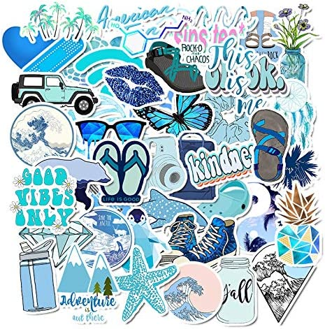 Cute Girl Blue Laptop Stickers 50pcs Lovely Trendy Kids Teen Vinyl Computer Waterproof Water product image