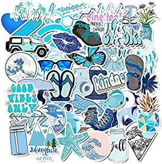 Cute Blue Stickers for Water Bottles Laptop -(50 Pack), Waterproof Stickers Packs Trendy Aesthetic Vinyl Stickers Decals Water Bottle Stickers for Teens Girls Phone Computer Luggage Skateboard