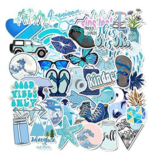 Laptop Stickers Packs , Blue Style Stickers 50PCS Water Bottles Stickers Cute,Waterproof,Aesthetic,Trendy Stickers for Teens,Girls Perfect for Waterbottle,Laptop,Phone,Travel Case