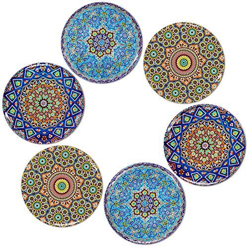 BOHORIA Premium Design Untersetzer 6er Set Dekorative Untersetzer fur Glas, Tassen, Vasen, Kerzen auf ihrem Holz-, Glas- oder Stein- Esstisch Boho Edition,Mosaique