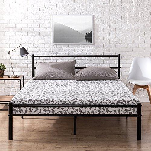 Zinus Cama de Plataforma de Metal Blanco de 12 Pulgadas con cabecero y reposapiés/Base de colchón