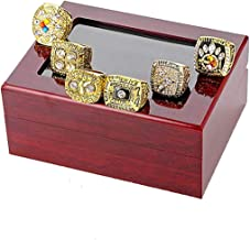 HASTTHOU A Set of 6 Pittsburgh Steelers Super Bowl Championship Replica Ring by Display Box Set