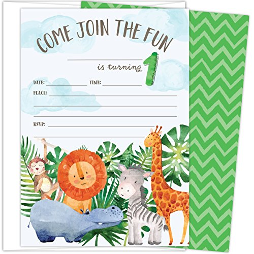 """First Birthday Party Invitations with Safari Animals. Set of 25 4.25"""" x 6"""" Cards and White Envelopes. Printed on Heavy Card Stock."""